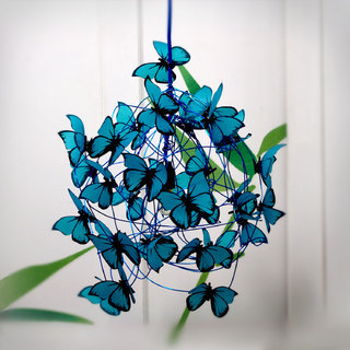 At Last! Crafts (Iluminación):        Lampara Con Mariposas Turquesas