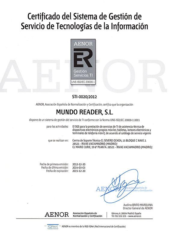 Bq Readers (Computación):        Certificado Sgsti