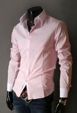 Camisetas Imports (Indumentaria):        Camisa Social   Slim Fit Estilo Luxo Clásica   Rosa