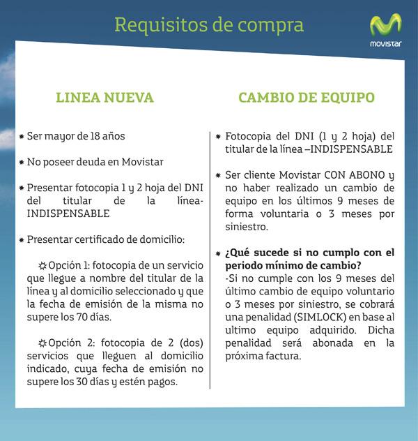 Concepto Celular (Celulares Y Smartphones):        Requisitos Movistar