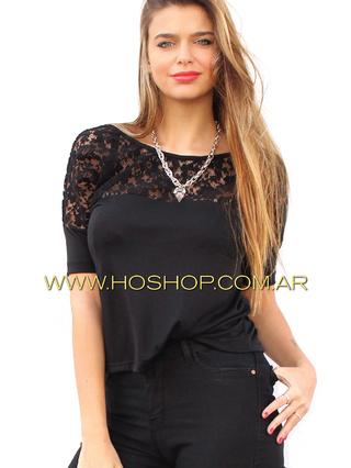 Ho Shop (Ex Holguins Outfit) (Indumentaria):        Remera Encaje Negra