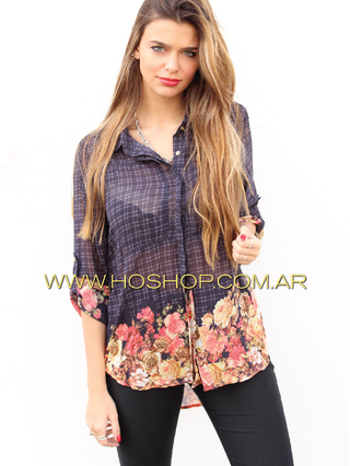 Ho Shop (Ex Holguins Outfit) (Indumentaria):        Camisa Cuadrille + Flores