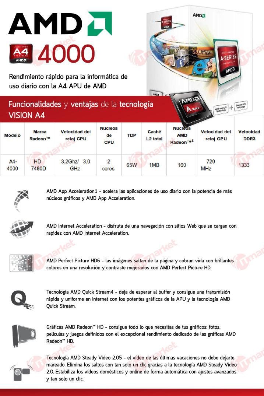 It Market (Electro Y Tecnología):        Micro Procesador Cpu Amd Apu A4 4000 3.0 A 3.2 Ghz