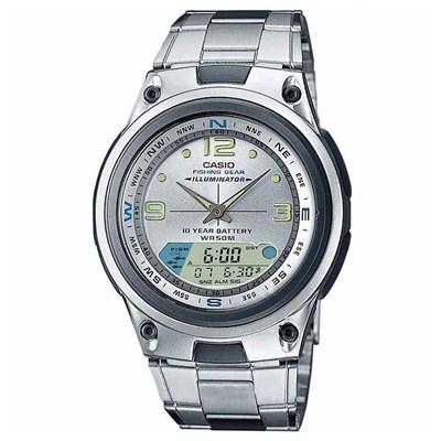 La Tienda Del Reloj (Relojes):        Reloj Casio Ana Digi Caballero Plateado Fase Lunar Y Funcion De Pesca Acero Wr50 M Aw 82 D 7 A