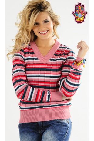 Moda Catálogo (Mayorista) (Mayoristas):        Sweater Rayas Cuello V