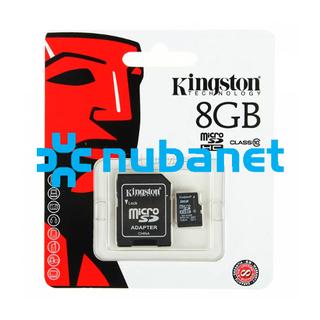 Nubanet (Computación):        Memorias Kingston Micro Sd 8 Gb + Adaptador Clase 10
