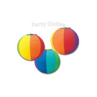 Party Online (Fiestas Y Cotillón):        Lámparas De Papel Arco Iris X 3