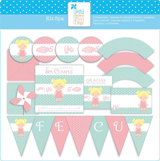 Perfect Fun Day (Fiestas Y Cotillón):        Kit Imprimible   Decoración Spa