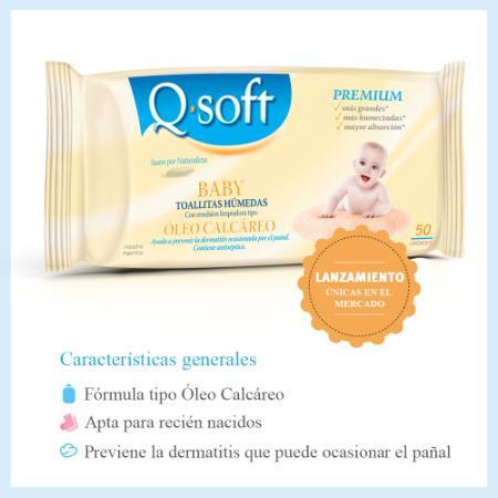 Q Soft Argentina (Bebés Y Chicos):        Toallitas Húmedas Premium X 50 Unidades   Con Óleo Calcáreo*