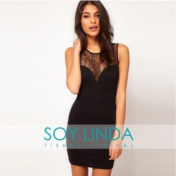 Soy Linda (Belleza Y Cuidado Personal):        Vestido Importado Ajustado Con Encaje Escote Y Espalda Muy Sexy