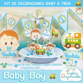 Tarjetas Imprimibles (Fiestas Y Cotillón):        Kit De Decoraciones Baby Boy   Baby & Tren