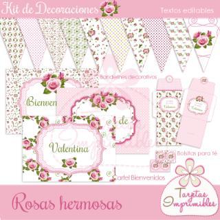 Tarjetas Imprimibles (Fiestas Y Cotillón):        Kit De Decoraciones Rosas Hermosas
