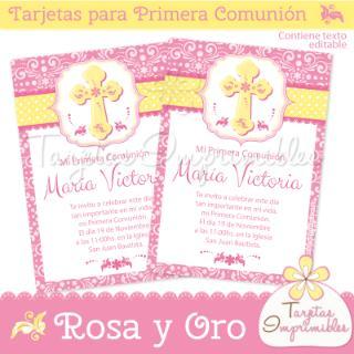Tarjetas Imprimibles (Fiestas Y Cotillón):        Tarjetas Para Primera Comunión De Niñas Rosa Y Oro