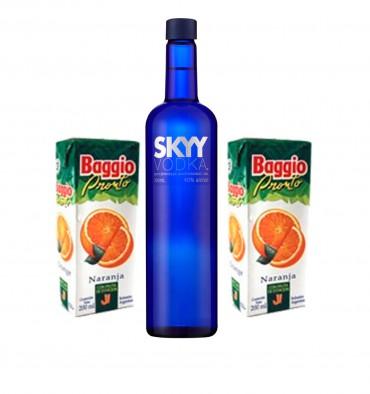 Vinoteca La Vía (Vinos Y Bebidas):        Vodka Skyy 750cc + 2 Jugos De Naranja Baggio