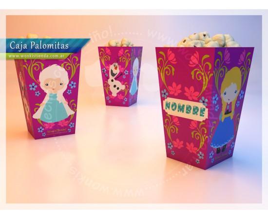 Wonkis! Objetos De Diseño (Fiestas Y Cotillón):        Frozen   Caja Palomitas Con Textos Editables